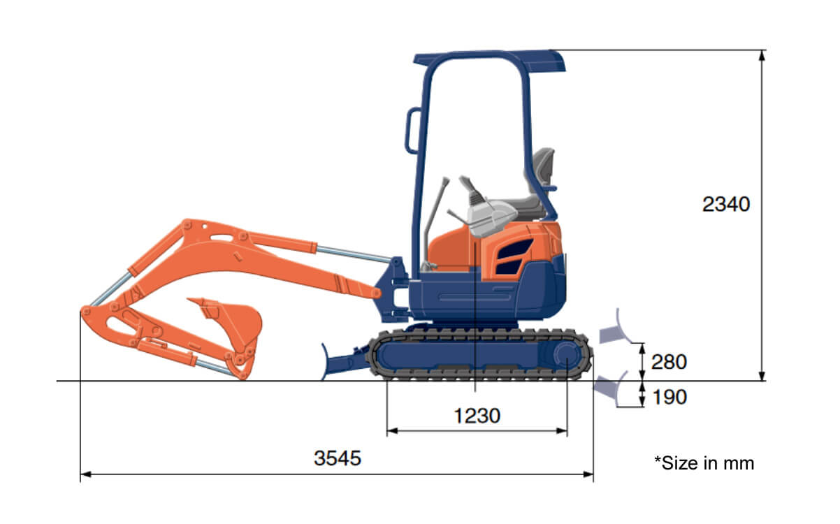 Kubota U17 Excavator Hire Length Specification